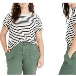 Madewell Easy Crop tee in Baker Stripe XL